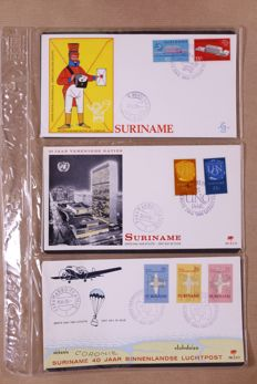 Suriname 1953/1989 – Batch of FDCs in 8 partial old albums and on separate sheets
