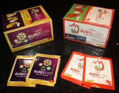 Panini - Euro 2008 Austria / Switzerland + Euro 2012 Poland / Ukraine - 2 original unopened boxes in factory seal + 4 extra packets.