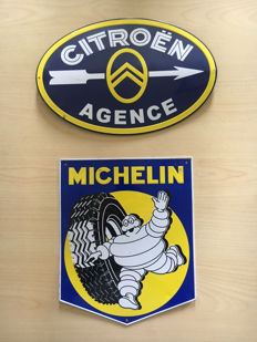 2 nice wall embossed signs Michelin and Citroën