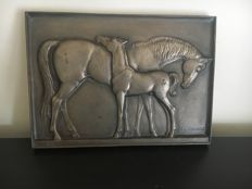 Cast iron horse plaque of Carl Wagner