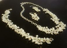 925 silver set including choker, bracelet, and earrings - 44 cm, 20 cm and 5 cm
