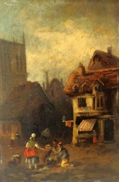 Unknown (19th century) - Street Scene 'Sharing the Food'