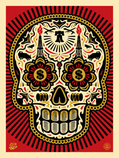 Shepard Fairey (OBEY) & Ernesto Yerena - Power & Glory Skull (Red/Gold) - Grand Format