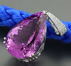 High carat amethyst brilliant pendant 24.10ct in total, 750 white gold --NO RESERVE PRICE!--
