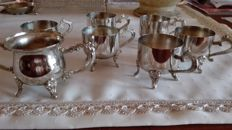 Art Deco silver plated coffee set consisting of 6 cups and 1 sugar bowl - England - first half of 20th century