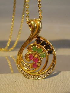 Pendant with rubies, emeralds, sapphires and diamond weighing approx. 0.56 ct in total,