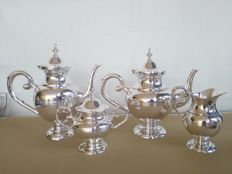 Large silver plated 4-piece tea set with elegant design E.p.n.s.
