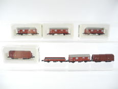 Märklin Z - 8605/8635/8610 - 7-piece brown freight train of the DB, including telescope-covered carriage [253]