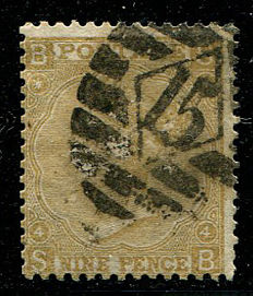 Great Britain 1865/67 – Queen Victoria – 9 pence straw, Stanley Gibbons 98 watermark Emblems