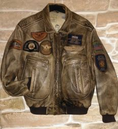 BENCAT  Top Gun leather pilot jacket,  rare model, made in USA