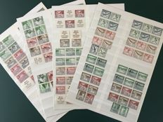 German Reich 1940/1941 - Selection of combinations from 5 stamp booklets with ships, flowers and buildings.