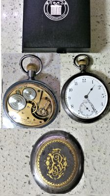 Waltham pocket watch - Gold Demascened Case with Gunmetal Finish - Swiss made - 1930