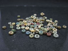 Ancient Egyptian Round Faience Beads - ca. 0,4 cm (100)