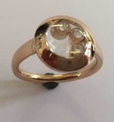 "Chopard – ""Happy Diamonds"" Red gold ring  3 diamonds 0.13 ct.  *new model"