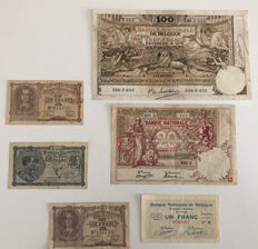 Belgium - Lot of 6 Belgian currency notes - 1913/1920