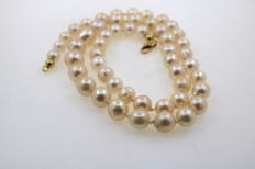 Cultured Akoya pearl necklace with 3–7 mm pearls arranged by size and 585‰ yellow gold lobster clasp, 6–10 mm in diameter