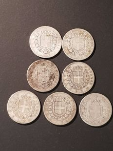 Kingdom of Italy — 2 Lira silver coins, Vittorio Emanuele II and Umberto I (7 pieces)