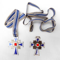 2 Mother Crosses in silver and bronze, Third Reich