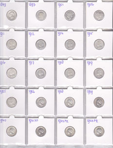 The Netherlands – 25 cents 1849/1944, Wilhelmina (20 different coins) – silver