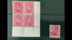 Belgium 1915 - 10 centimes King Albert I in block of 4 with an accordion crease over 2 stamps - OBP 138