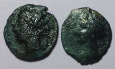 Greek Antiquity - Lot of 2 coins - North Africa, Zeugitania, Carthage - Æ, c. 400-350 BC - Head of Tanit / Horse - SNG Cop 109-19