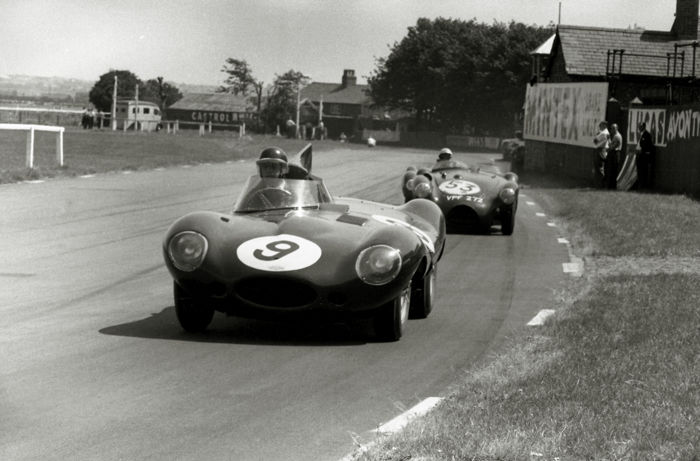 1955 Aintree Mike Hawthorn Jaguar D Type   Photograph. 54cm x44 cm. Great Image.