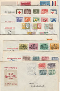 The Netherlands 1952/1953 - Small collection of FDCs - NVPH E10 up to and including E15, ITEP cover, E29 and E136a