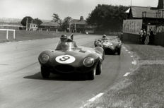 2 x 1955 Aintree Mike Hawthorn Jaguar D Type and Aston Martin DB3 S    Photograph. 54cm x44 cm. Great Image.