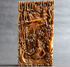 Wood carving panel Rama and Sita - Bali - Indonesia - 2nd half of the 20th century