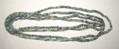 2  Necklaces of green, small faience mummy beads - 66/68 cm