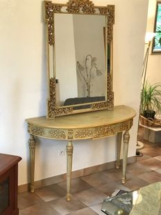 Painted carved wooden table in half-moon shape and a mirror in neoclassical style, mid 20th century