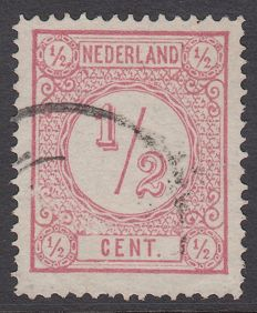 Netherlands 1877 - print stamp with line perforation 14 - NVPH 30AI