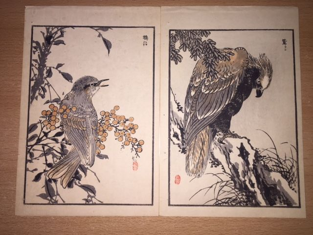 "Two woodblock prints by Kōno Bairei (1844-95) from the series ""Bairei Hyakucho Gafu"" (Bairei's Album of One Hundred Birds), volume ""Ten"" (Sky) - Japan - 1881"