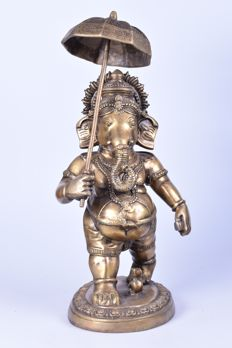 Grote messing Ganesha - India - 21ste eeuw (60 cm)