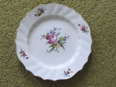 The Hague Doornik shallow plate polychrome painted with flowers