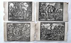 4 prints by an unknown artist (16th/17th century)-The story of Adam & Eve in Paradise-16th/17th century