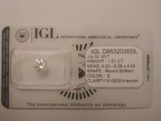 1.01 Carat Round Brilliant Cut - E Colour - VVS2 Clarity - IGL Certified - Sealed