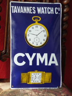 Enamel advertising Cyma Tavannes Watch Co.-1926