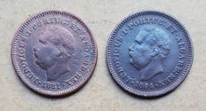 Portuguese India - Pair - Eighth (1/8) of a Tanga 1881 & 1884 - D. Luis I Above Average
