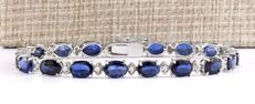 *No Reserve Price*-19.87ctw Natural Sapphire and Diamond Bracelet in 14K white gold Free shipping