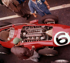 Maserati 250 F  Paddock 1957 Colour  Photograph. 54cm x44 cm. Great Image.