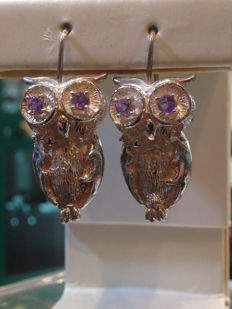 Owl earrings with amethyst, 3.5 cm, hand-crafted in Italy, weight: