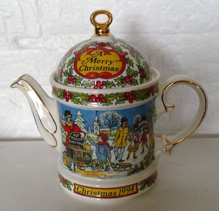 "Sadler vintage porcelain teapot ""Christmas Holiday design""."