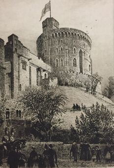 """Axel Herman Haig (1835-1921)  - """"The round Tower, Windsor Castle"""" - 1887"""