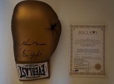 Marco Antonio Barrera And Erik Morales Dual Hand Signed Boxing Gold Everlast Glove RARE Gold Star Promotions COA Autographed AUTO  WBC super WBO