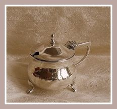 Sterling Silver mustard pot w/blue liner, H.V. Pithey & Co., Birmingham, 1918 and spoon, Charles Edward Turner, Birmingham 1919