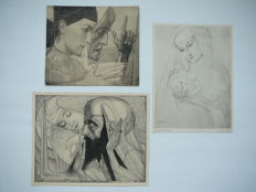 After Jan Toorop (1858-1928) - 'Madonna' of 1920, 'Jeugd en Ouderdom' of 1924 and 'Inspiration sacrée' of 1927