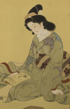 Scroll painting - Geisha with book - Japan - Early 20th century