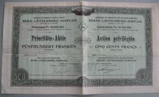 "Switzerland - Railways - Bernese Alpine Railway Company ""Bern-Lötschberg-Simplon"" - 1908 - Preference share - 500 Swiss francs"