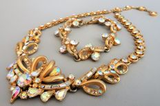 Signed HOLLYCRAFT - Demi Parure - RARE Necklace & Bracelet - CORP. 1957